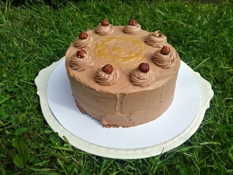 Chocolade hazelnoot carameltaart
